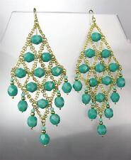 EXQUISITE Aqua Blue Green Aventurine Gemstone Gold Chandelier Peruvian Earrings