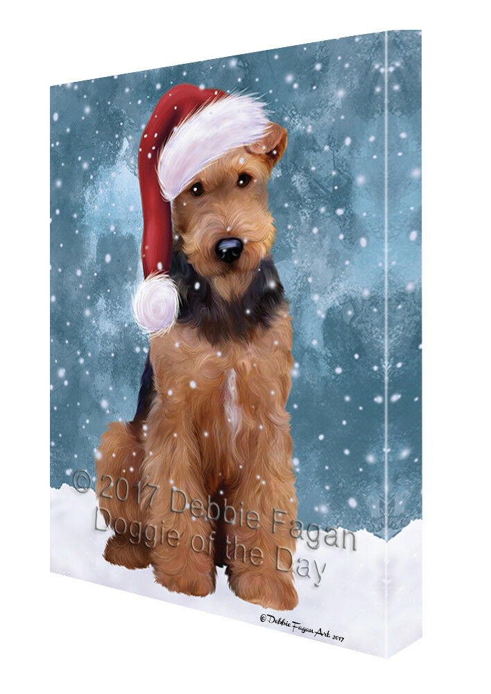 Let it Snow Christmas Holiday Airdale Dog Wearing Santa Hat Canvas Wall Art T214