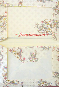 Gift-Set-10-Italian-Blank-PAPER-ENVELOPE-Gold-Multicolor-Scrolls-Fleur-de-Lis