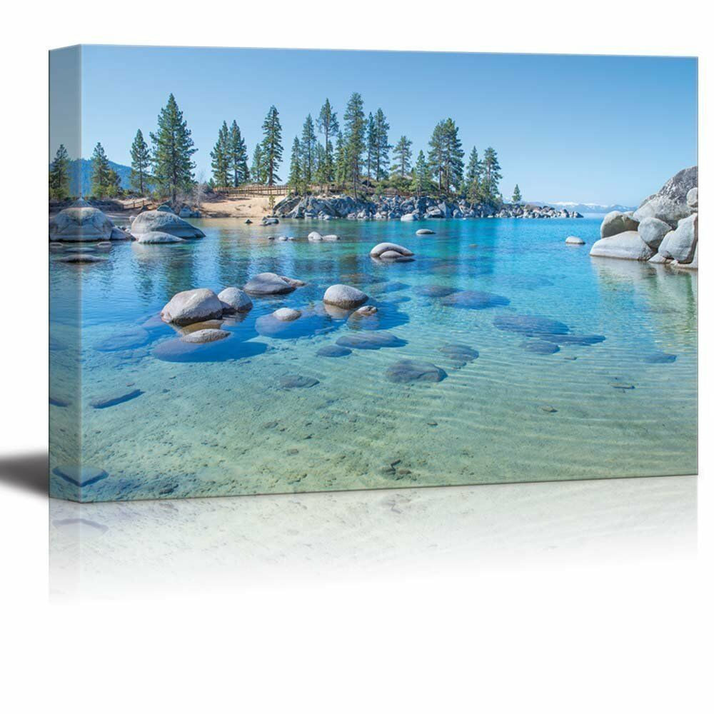 Canvas Prints - Blau Clear Water on the Shore of the Lake Tahoe - 32  x 48