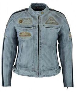 Détails Femme Jacke Sur Bleue Vintage Racer Blouson Rocker Retro Veste Moto Cuir Cafe jL5Aq34R