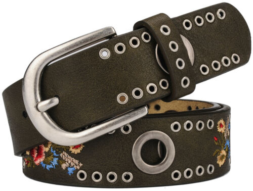 Women/'s Flower Print and Metal Ring Rivets Handcrafted Genuine Leather Belt