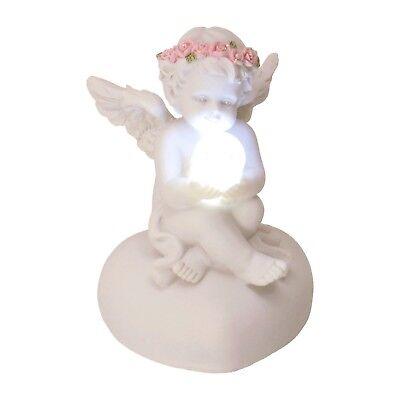 Dekofigur Engel mit LED-Kugel Deko Figur Engelchen niedlich sitzend süß