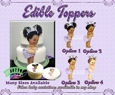 Lavender Vintage Baby girl Edible Cake Topper Frosting ...