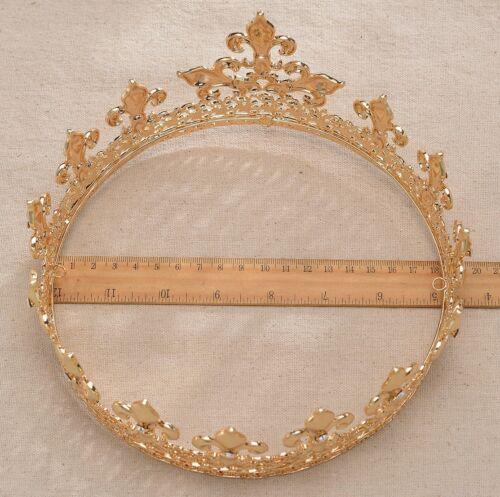Medieval Full King/'s Gold Metal Crown Rhinestone Crystal Fleur-De-Lis Men/'s H919