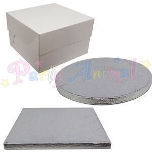 SINGLE-Cake-Board-and-White-Box-Pack-SILVER-Thick-Drum-Wedding-amp-Birthday