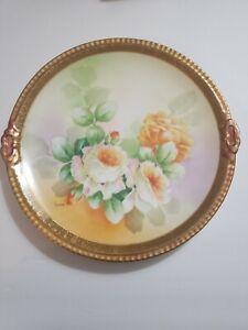 Vintage-Decorative-Old-Abbey-Roses-Limoge-Plate