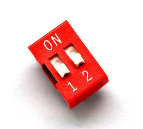 10PCS Red 2.54mm Pitch 2-Bit 2 Positions Ways Slide Type DIP Switch z3