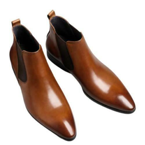 Mens Chelsea Business Pointy Toe High Top Real Leather Work Ankle Boots Shoes L