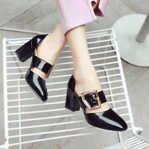 womens-patent-leather-Square-toe-buckle-block-Mid-heels-office-OL-Cut-Out-shoes