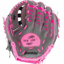 GIRLS Left Hand T-BALL BASEBALL GLOVE Pink Grey 10.5in Shock Absorber Ages 4-6