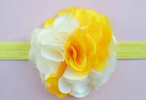 Yellow Baby Headband with Prismy Flower in the Centre for Newborn Kids Girls