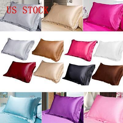 1Pcs Standard Queen King Satin Silk Pillowcase Pillow Case Cover Home Bedding