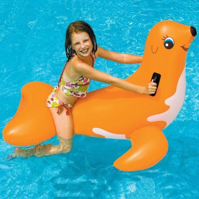 NEW Swimline Seal Ride On 90451 Inflatable Kids Pool Water Beach Toy Orange