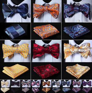 Men-039-s-Plaid-Paisley-Silk-Self-Bow-Ties-Wedding-Gift-Bow-Tie-Handkerchief-Set-G8