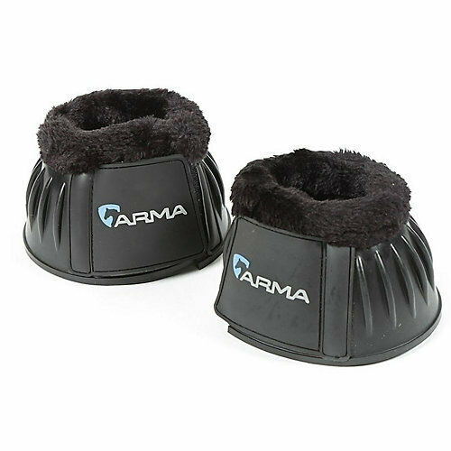 Saxon Fleece Trim Rubber Overreach Bell Boots with Touch Tape Closures