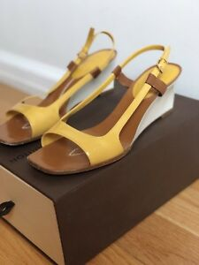 b84c8ecf19 Image is loading Louis-Vuitton-Yellow-Patent-Leather-Sling-Back-Wedge-