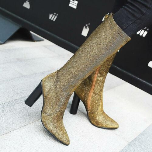 Bout Côté Toute mollet Mi Pointu De Bottes Bloc Loisirs Haut Taille Talon Chaussures Femmes 7Evxq