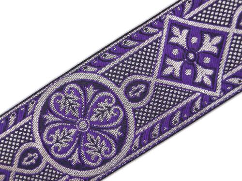 "3 Yards Purple /& Silver Jacquard Chasuble Medieval Church Vestment Trim 2 3//8/"""