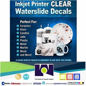 5Sh-8-5-034-x11-034-Inkjet-Printable-Water-Slide-Decal-Transfer-Paper-CLEAR
