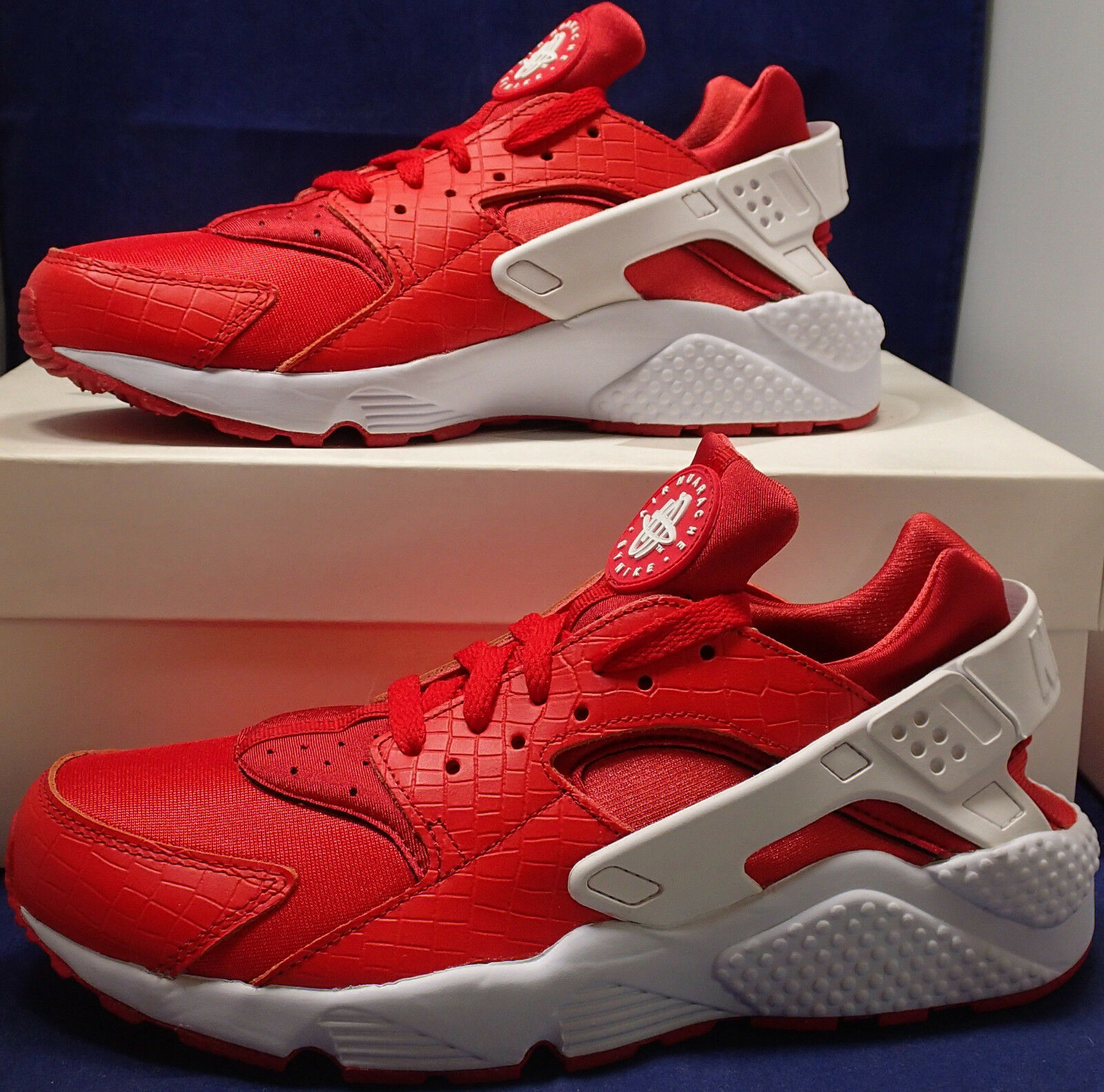 Womens Nike Air Huarache Run iD Croc Red White SZ 9.5 ( 777331-997 )