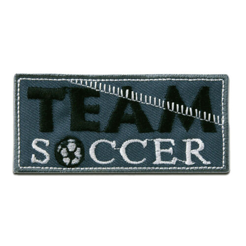 Team Soccer Fußball 6,9x3,2cm Aufnäher // Bügelbild blau