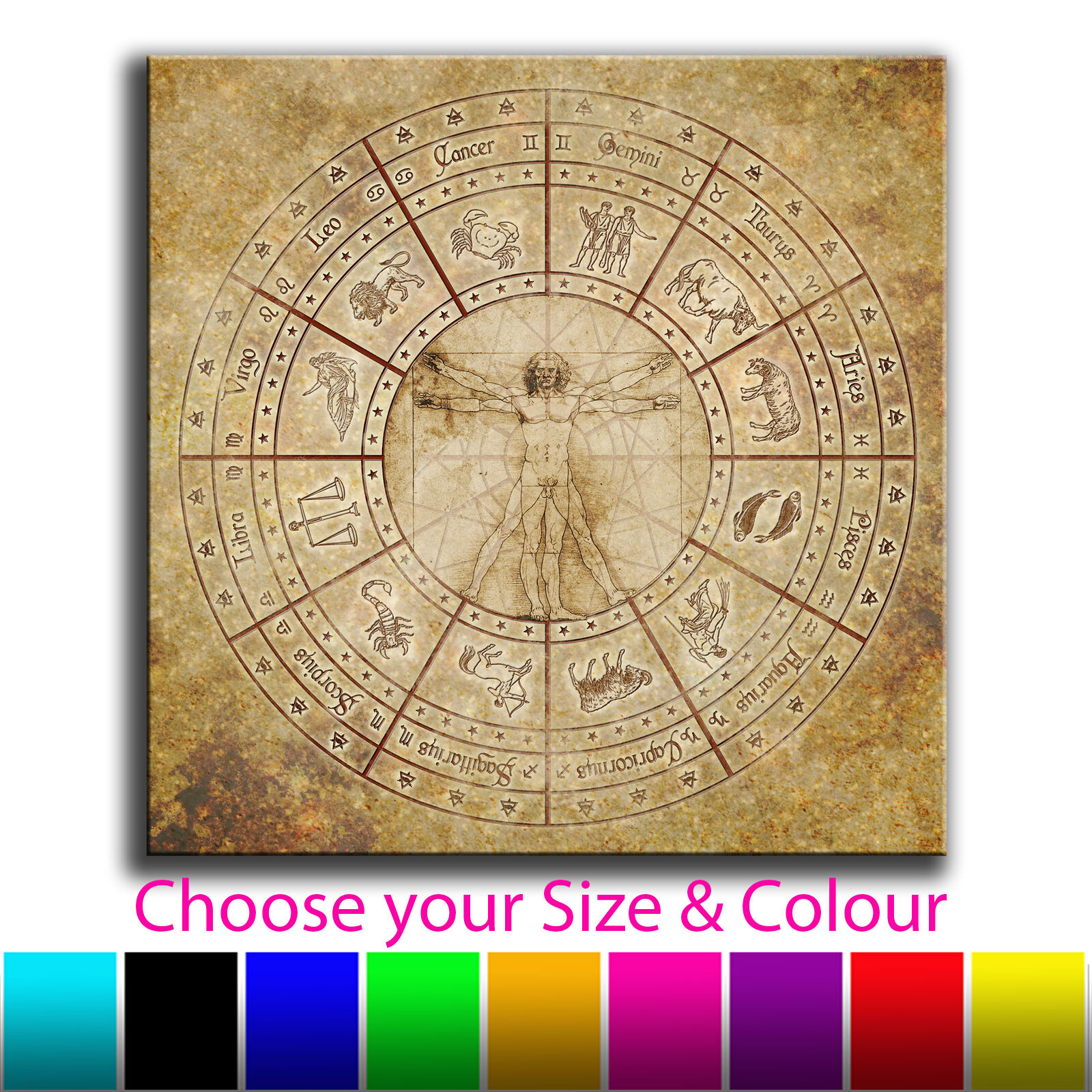 Abstract Zodiac Map Single Canvas Wall Art Picture Print 21 v