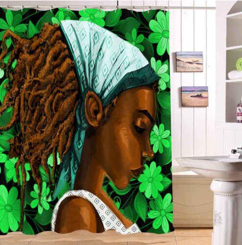 African American Afro Hairstyle Black Woman Leaf Shower Curtain Liner Bath Hooks