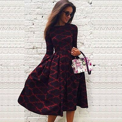 Vintage Lady Long Sleeve Boho Plaids Print Party Evening Ball Prom Maxi Dresses