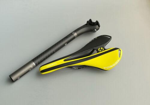Carbon 3K MTB Road Bike Saddle Seat post offset 27.2//30.8//31.6mm Seatpost Yellow