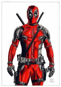 Deadpool-by-Diego-Mendes-large-original-pen-amp-watercolor-drawing-signed-amp-dated