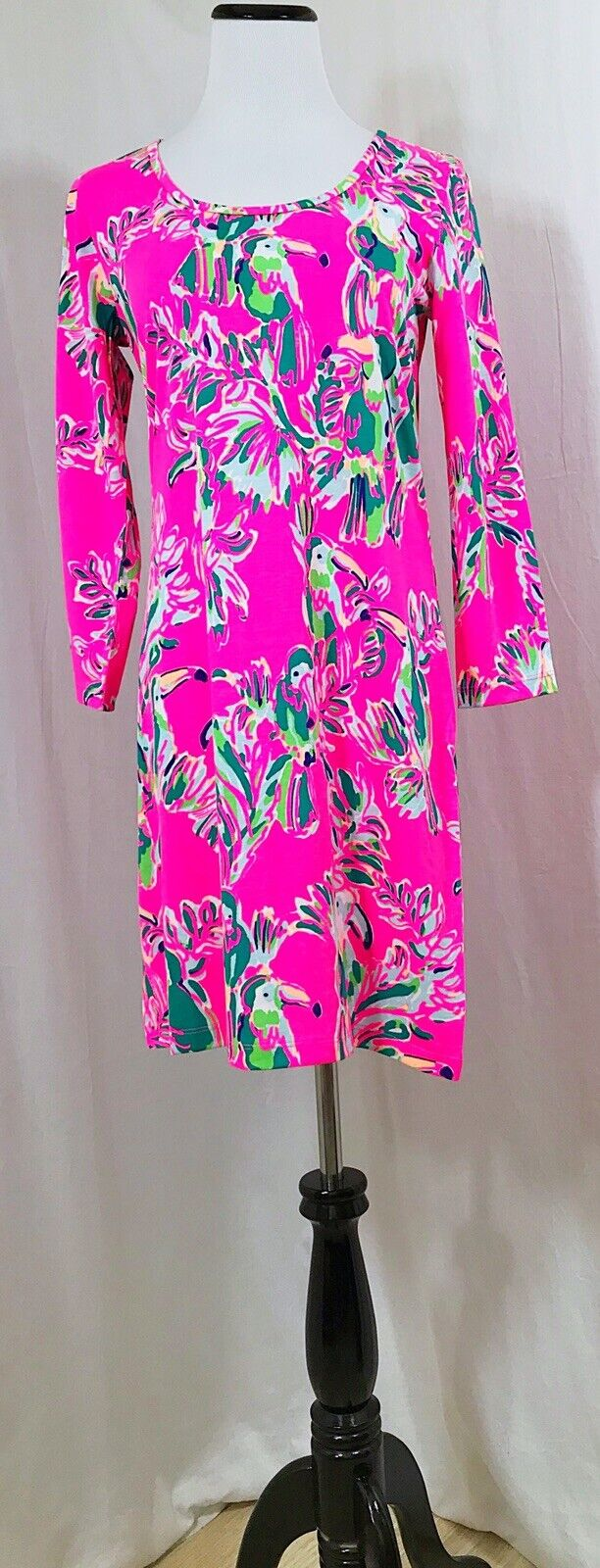 Lilly Pulitzer Robe Sz S Beacon robe rose vif Toucan peut Floral plage Shift