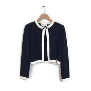 St-John-Collection-Jacket-6-Santana-Knit-Blue-White-Cardigan-Women-s-Career