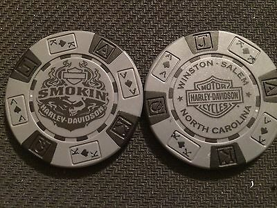 "Harley Davidson Poker Chip (Gray & Black) ""Smokin"" Winston Salem, NC"