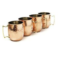 Moscow Mule Copper Mugs Cups Set of 4 Gift Drinking Barware Solid Hammered