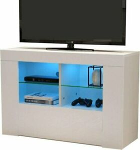 Meuble Tv Blanc Avec Led Ebay