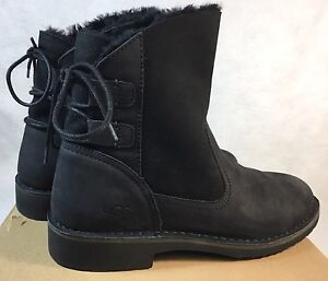 ef3198d1af4 Details about Ugg Australia Naiyah Black Boot Lace Up Shearling Lace Up  women's 1016850