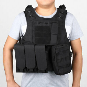 Heavy Duty Black Tactical Vest for Outdoors Camping Hunting w/ Carrier and Pouch