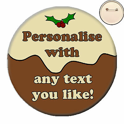 58mm Personalised CHRISTMAS LIGHTS PIN BADGE Button Xmas Staff Work Party Pub