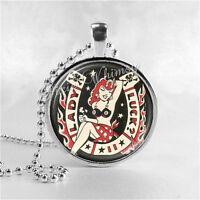 Lady Luck Necklace, Horseshoe, Lucky Charm, Gambling Jewelry, Las Vegas