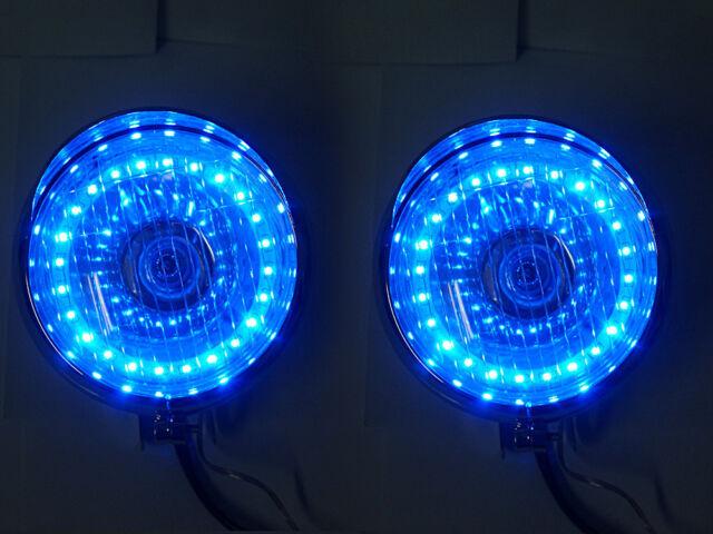 Chrome Motorcycle Headlight Lamp Blue LED Angel Eye 4 Harley Davison Dyna Glide