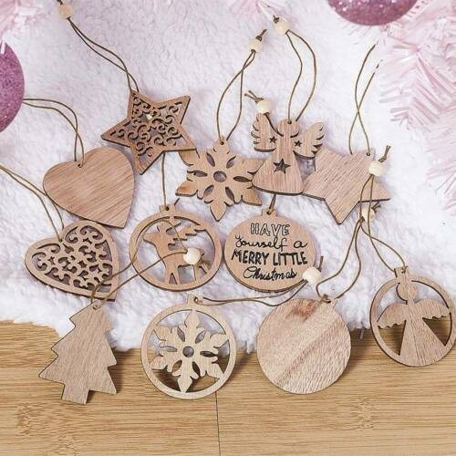 Mixed Wooden Christmas Tree Gift Tags Craft Shapes Blank Hanging Decorations UK