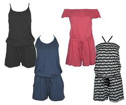 Damen JUMPSUITS Sommer Overalls kurz Einteiler Playsuit Strand Jumpsuit Overall