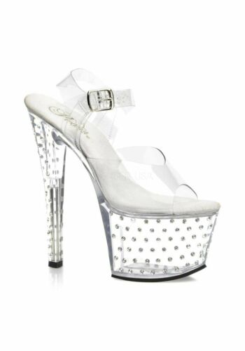 7 Inch Stiletto Heel Rhinestone Studded Clear Platform Sandal With Ankle Strap