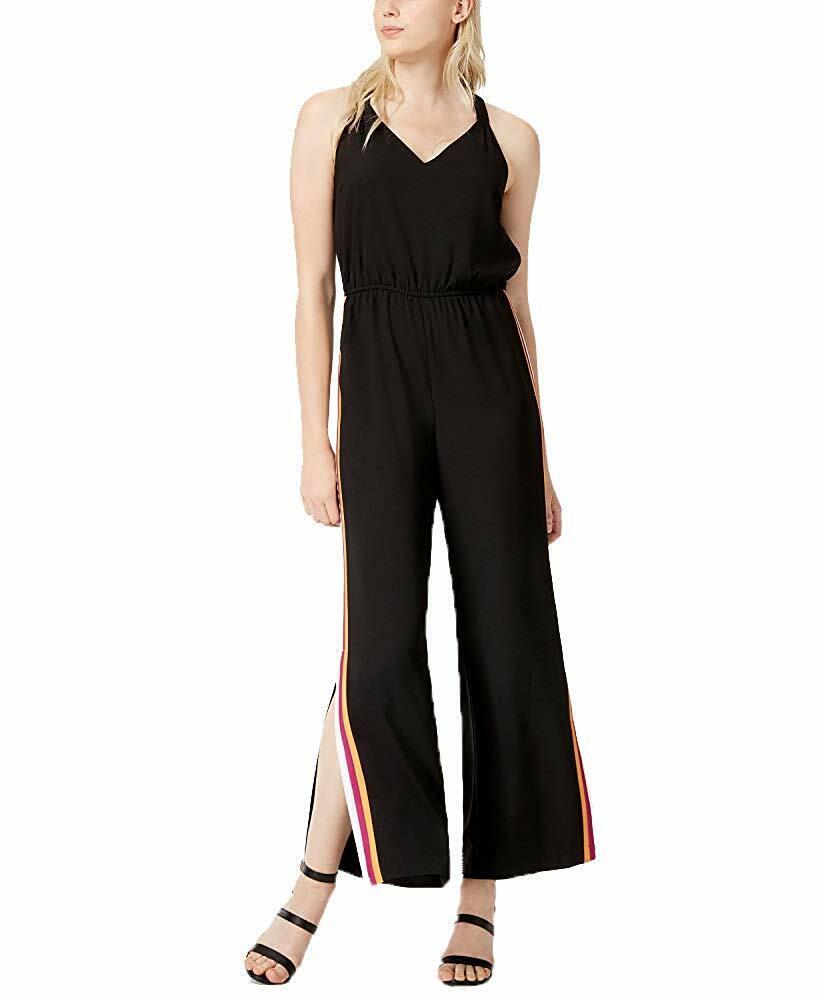 Bar III pour Femme Varsity-Stripe V-encolure Élastique Combinaison