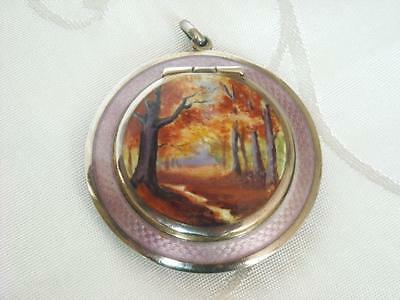 ANTIQUE DOUBLE SIDED STG SILVER GUILLOCHE ENAMEL SCENIC PENDANT POWDER COMPACT