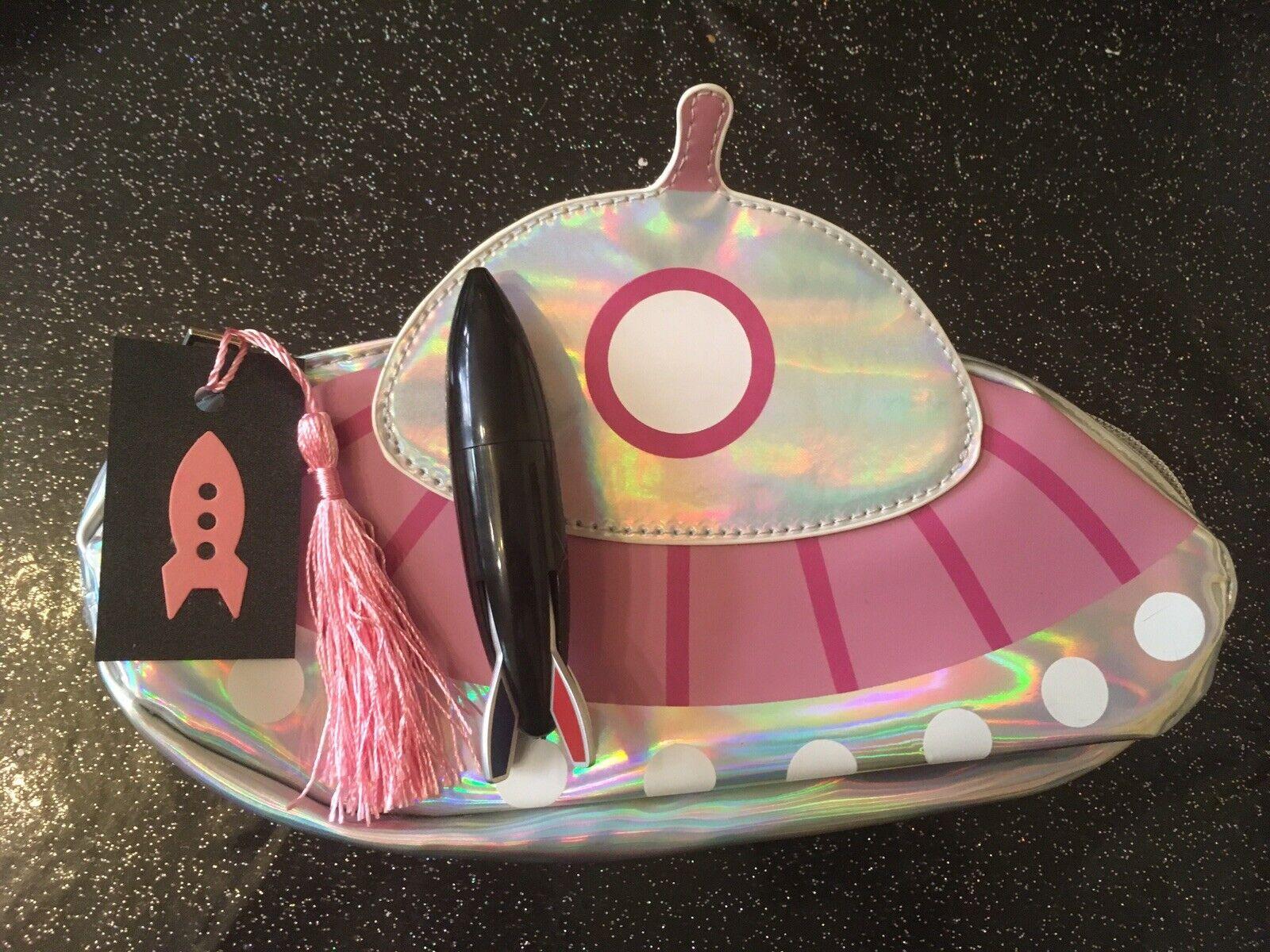 50's Atomic Pink Spaceship Large Metallic Cosmetic Bag +Rocket Pen 2 Pc Gift Set