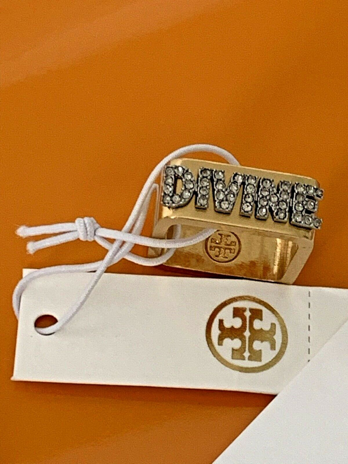 Tory Burch Message Ring Divine Modern Adornment Size 6 or 7 to Choose Brand New