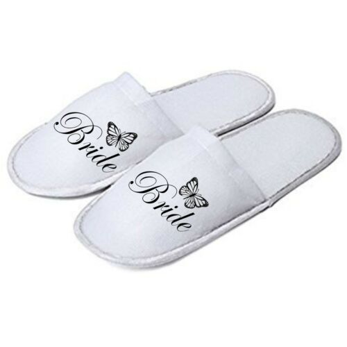 Personalised Butterfly Slippers Mules Ideal for Weddings Honeymoon Home Bride