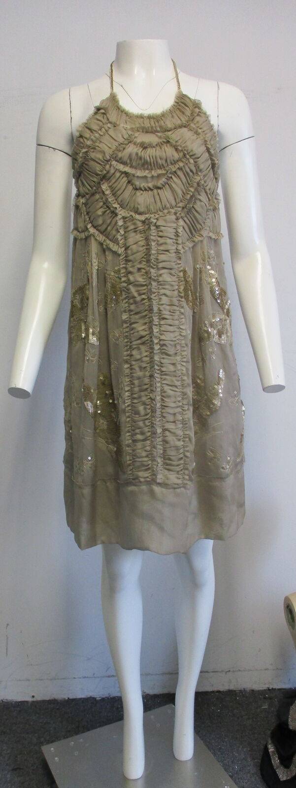 PHILOSOPHY DI ALBERTA FERRETTI damen TAUPE SEQUINED SILK DRESS SZ 38 2